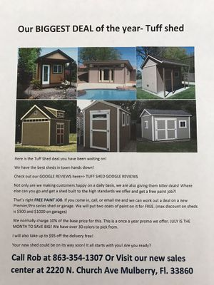 Tuff shed Biggest Deal of the Year for Sale in Mulberry, FL