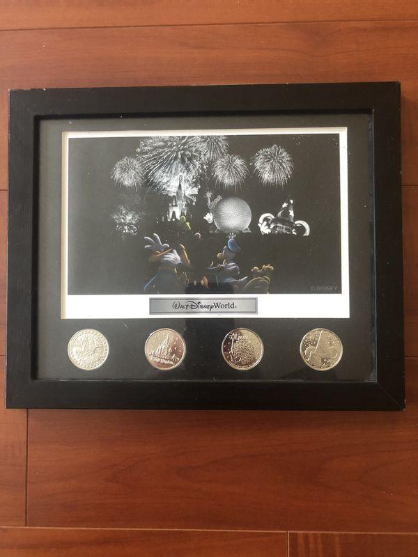 Walt Disney World park lithograph with 4 coin framed set