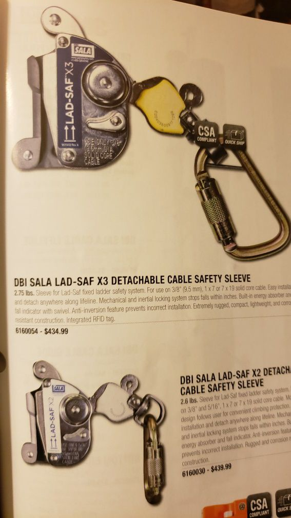 (RETAIL $439.99) DBI Sala Lad-Saf X3 Detachable Cable Safety Sleeve