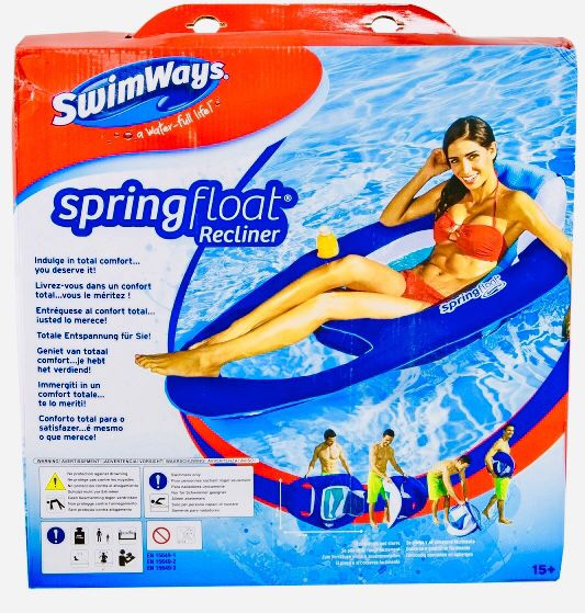 Swimways Spring Float Recliner Swimming Pool Chair Lounger - Blue & White NEW
