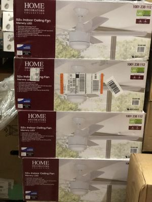 Home Decorators Collection Merwry 52 in. Integrated LED Indoor White Ceiling Fan with Light Kit and Remote Control- NEW IN BOX for Sale in San Antonio, TX