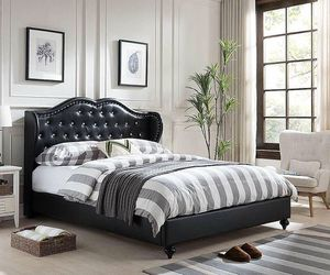 Brand new queen leather diamond bed frame no mattress for Sale in Miami, FL