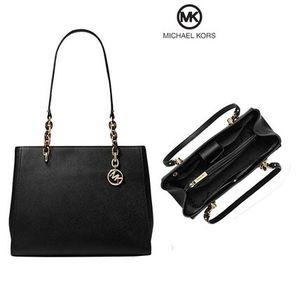 MICHAEL KORS TOTE BLACK LEATHER Sofia Large Chain Tote BLACK SAFFIANO LEATHER Handbag Purse Shoulder Bag satchel for Sale in Northville, MI