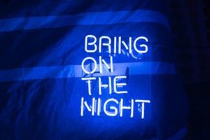 'Bring On The Night' Blue Neon Sign for Sale in West Hollywood, CA