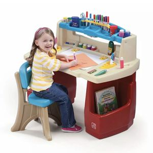 Step2 Deluxe Art Master Desk Kids Art Table with Storage and Chair for Sale in Old Bridge Township, NJ