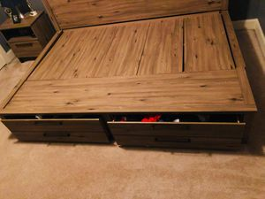 Full Size Wooden Lounge Bed & Nightstand for Sale in Atlanta, GA