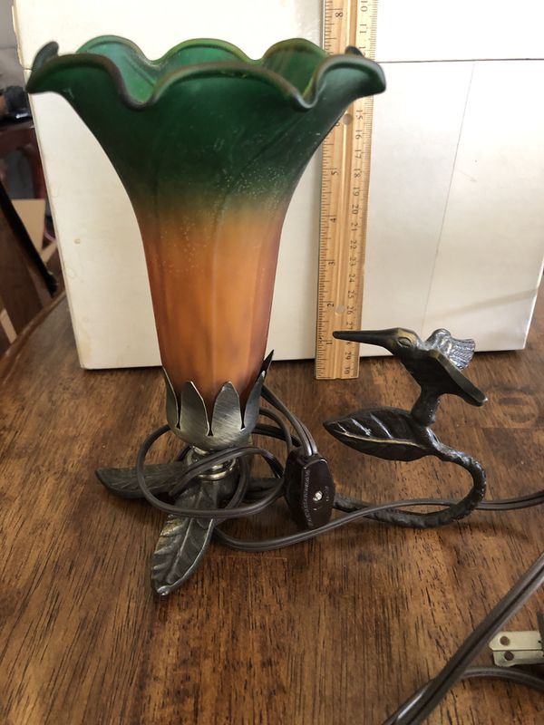 Tiffany style Art Deco hummingbird tulip lamp green & Amber shade