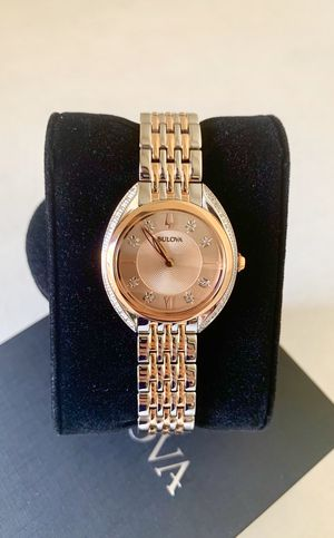 BULOVA CRYSTAL ACCENT TWO TONE ROSE GOLD STAINLESS STEEL LADIES WATCH #98R275 for Sale in Flower Mound, TX