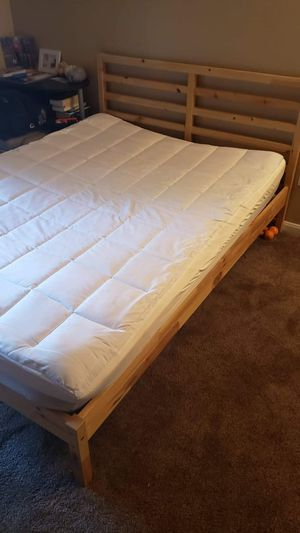 IKEA full double bed with Serta memory foam topper and mattress in perfect condition. I also will add small computer desk for free for Sale in San Diego, CA