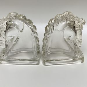 Vintage 1936 Art Deco Federal Pressed Clear Glass Horse Head Bookends for Sale in Tempe, AZ