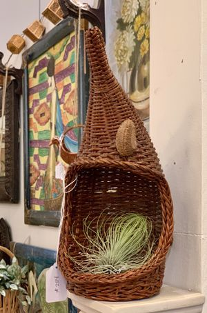 Vintage Bamboo Wicker Rattan Plant Basket Air Plant Basket Boho Catch All Basket for Sale in Aliso Viejo, CA
