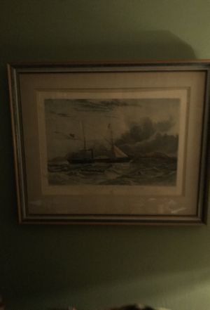 Lithograph of ship by Geysers when off by M! Eggecombe for Sale in Boston, MA