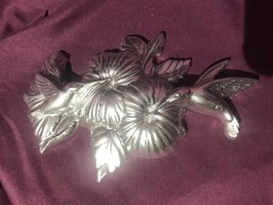 Floral bright silver butterfly wall plaque for Sale in Fresno, CA