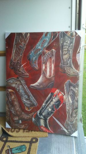 2 western boots painting for Sale in Lumberton, TX