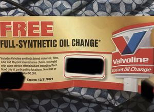 Free oil change ticket for Sale in Columbus, OH