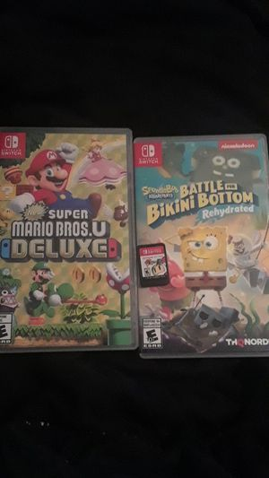 Nintendo Switch game bundle!!! Mario Bros. Deluxe, Spongebob BFBB, & Bomberman R for Sale in Lauderdale Lakes, FL