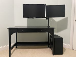 Computer desk with attached dual monitor mounts for Sale in Cleveland, OH