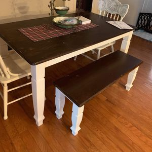 Farmhouse Table With Matching Bench And 2 Chairs for Sale in Cary, NC