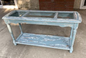 Beautiful distressed blue and white shabby chic / coastal / farmhouse console table with glass top for Sale in Mission Viejo, CA