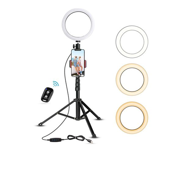 """Like New! 8"""" Selfie Ring Light with 51"""" Extendable Tripod Stand & Cell Phone Holder for Livestream / Makeup"""