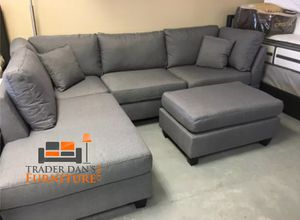 Brand New Grey Linen Sectional Sofa Couch + Ottoman for Sale in North Springfield, VA