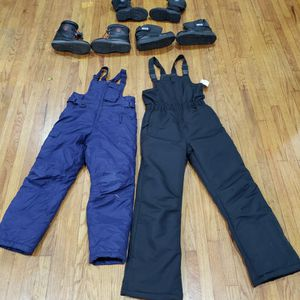 KIDS SNOW GEAR BOOTS PANTS BIBS OVER ALLS NEW AND USED SIZE 5 & 1 BOOTS PANTS SIZE 8,10,12 for Sale in Whittier, CA