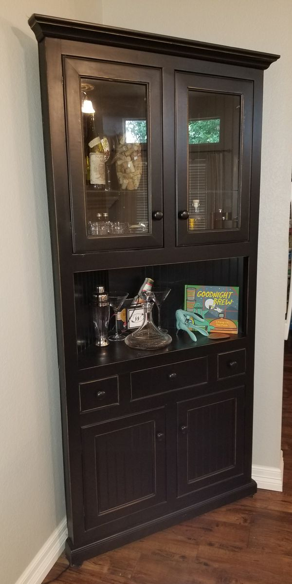 Black Corner Liquor Cabinet Or China Cabinet For Sale In