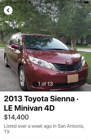 LE Minivan 4D TOYOTA2013 Sienna Excellent condition Kept in garage, 61,000 miles, no accidents, w/ lift for scooters &wheelchairs. for Sale in San Antonio, TX