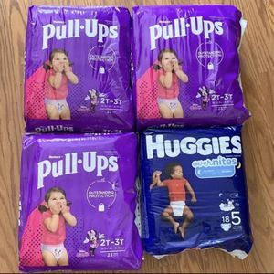 4 Pk Huggies Pull-Ups & Overnights 2-3T for Sale in Grand Prairie, TX