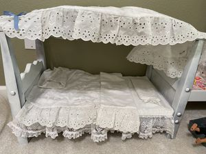 Wooden hand crafted canopy doll bed with linens for Sale in Katy, TX