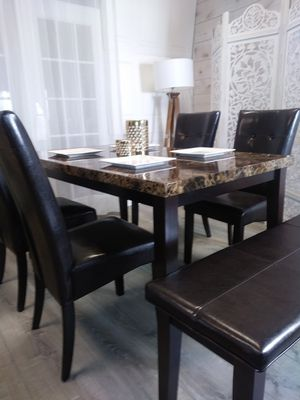 New Marble Top Dining Room Table Kitchen Tables Chairs Bench for Sale in Baltimore, MD