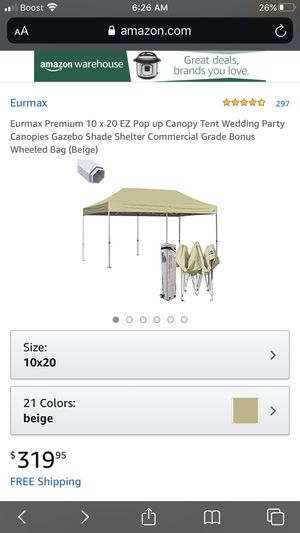 10 x 20 EZ Pop up Canopy Tent Wedding Party Canopies Gazebo Shade Shelter Commercial Grade for Sale in North Charleston, SC