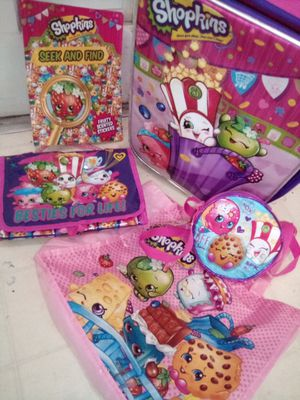 Shopkins set(or separate)! Suitcase ,color book,purse,and reusable shop bag for Sale in Dallas, TX