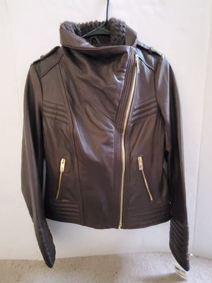 New Young Adult Michael Kors Brown Leather Jacket Size M for Sale in Sanatoga, PA