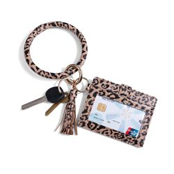 Leopard Printed Wrist Key Chain Wallet/Card Holder PU Leather Big Circle for Sale in Irvine,  CA