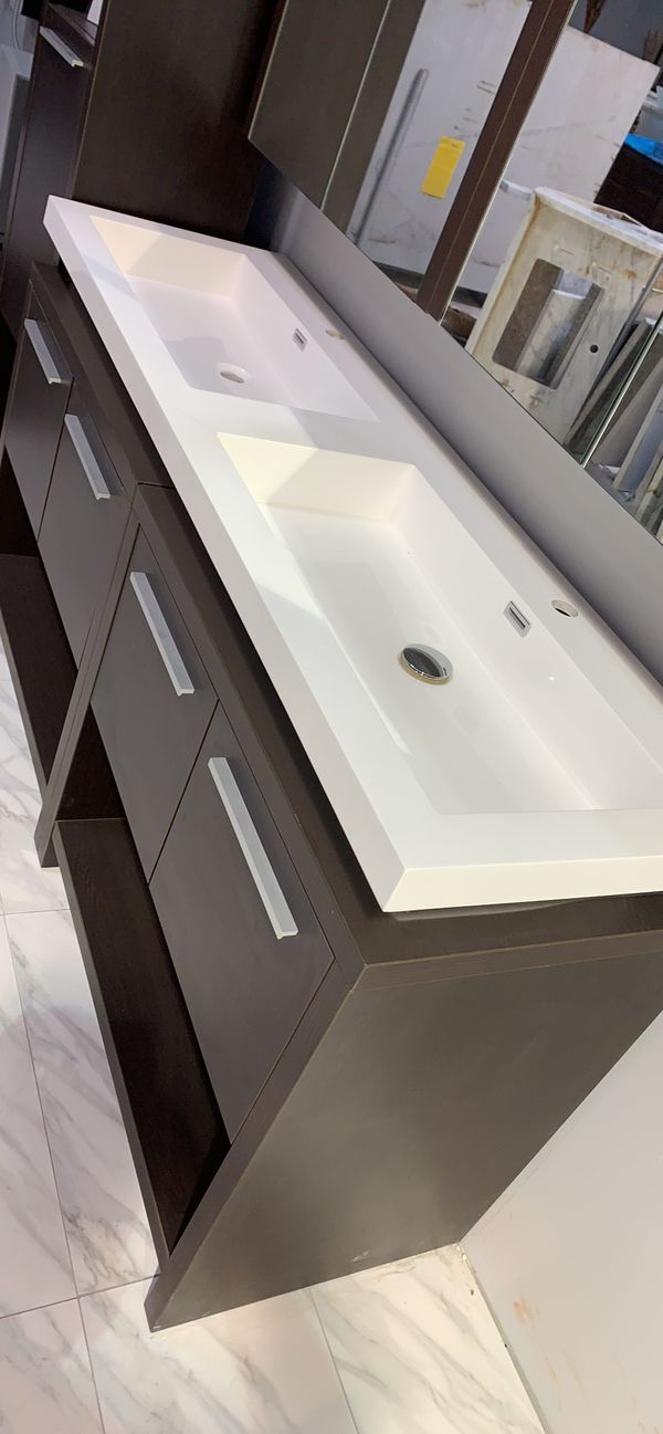 """63"""" Modern Double Sink Bathroom Vanity with Medicine Cabinet Mirrors (Side Cabinet Optional)"""