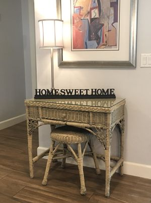 Pier 1 Imports - Versatile Shabby Chic Farmhouse Rustic Boho Rattan Entry Table Console Table Entryway Accent Table Side Table End Table Desk Vanity for Sale in Phoenix, AZ