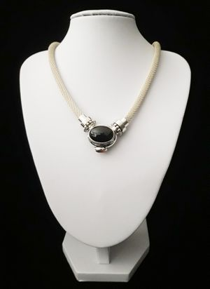 """17"""" (Joseph Esposito), Espo Sig, Espo Snap"""". Woven Solid Sterling Silver Necklace w Solid Sterling Silver Black Onyx & Amber Pendant, signed for Sale in Columbia, SC"""