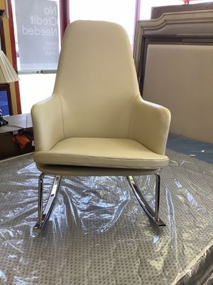 New White Leather/Metal Rocking Chair for Sale in Virginia Beach, VA