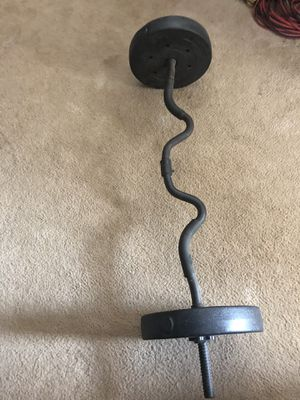 Curl bar with 15 pound weights for Sale in Round Rock, TX