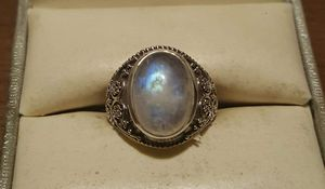 92.5 Sterling Silver Rainbow Moonstone Beaded Swirl Ring. for Sale in Pawtucket, RI