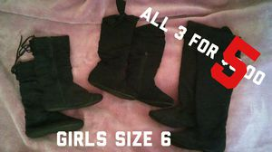 3 pairs of black boots girls size 6 for Sale in San Bernardino, CA