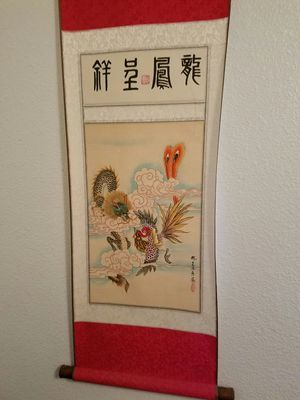 Hand painted Asian scroll wall hanger for Sale in Sanger, CA