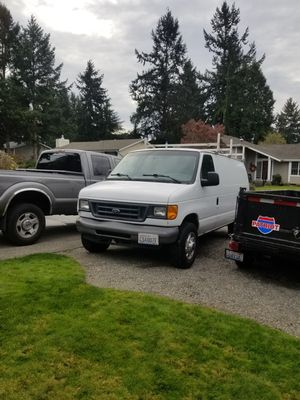 2007 Ford E-250 work van. 221k miles, newer tires. Adrian steel roof rack, interior storage and tool racks. for Sale in University Place, WA