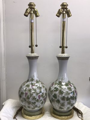 VINTAGE MARBRO PORCELAIN CERAMIC TABLE LAMPS 1960s MODERN ITALIAN ANTIQUE CHIC for Sale in Pasadena, CA