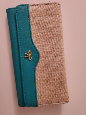 Two toned wallet. Turquoise and tan. for Sale in Apopka, FL