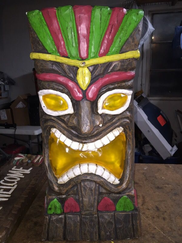 Large Lighted Solar Tiki Statue 23 Quot Tall For Sale In