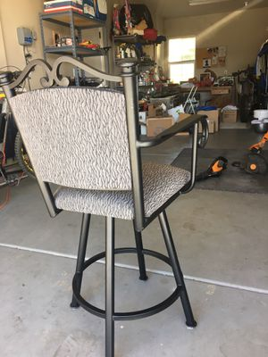 Bar stools fabric upholstery swivel stools. Seat 25 inches high. All 3 go for $75 for Sale in Novato, CA