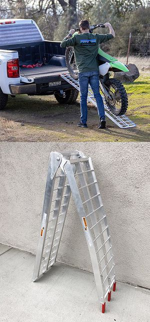 (NEW) $60 Single 7.5ft Aluminum Motorcycle Folding Loading Ramp Street Dirt Bike 750Lbs Rated for Sale in Whittier, CA