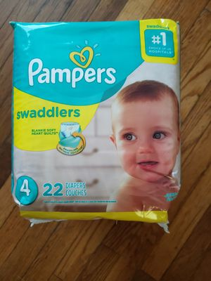 3 PACKAGES DIAPERS PAMPERS SWADDLERS SIZE 4 for Sale in Hyattsville, MD